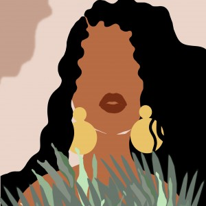 """Grafika """"Czarna kobieta"""" sygnowana"""