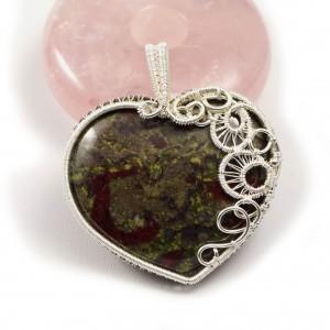 Kamień krwisty, Srebrny wisior z kamieniem krwistym, heliotropem, ręcznie wykonany, prezent dla niej, prezent dla mamy, prezent urodzinowy