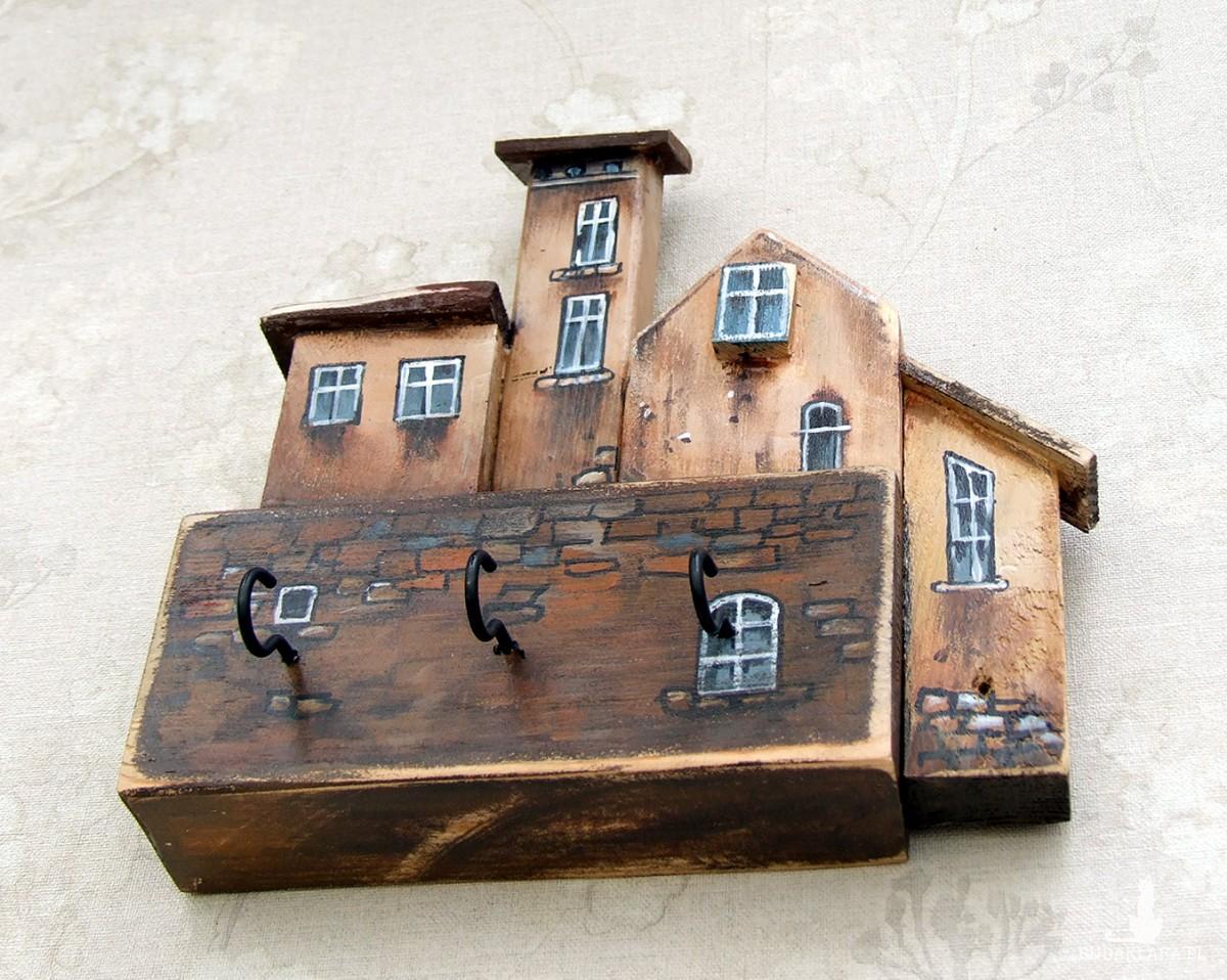 Wieszaczek z domkami, ręcznie malowany, 3 haczyki