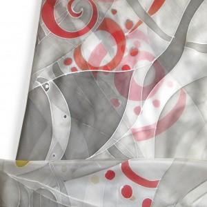 Ręcznie malowana jedwabna apaszka Szara z czerwienią