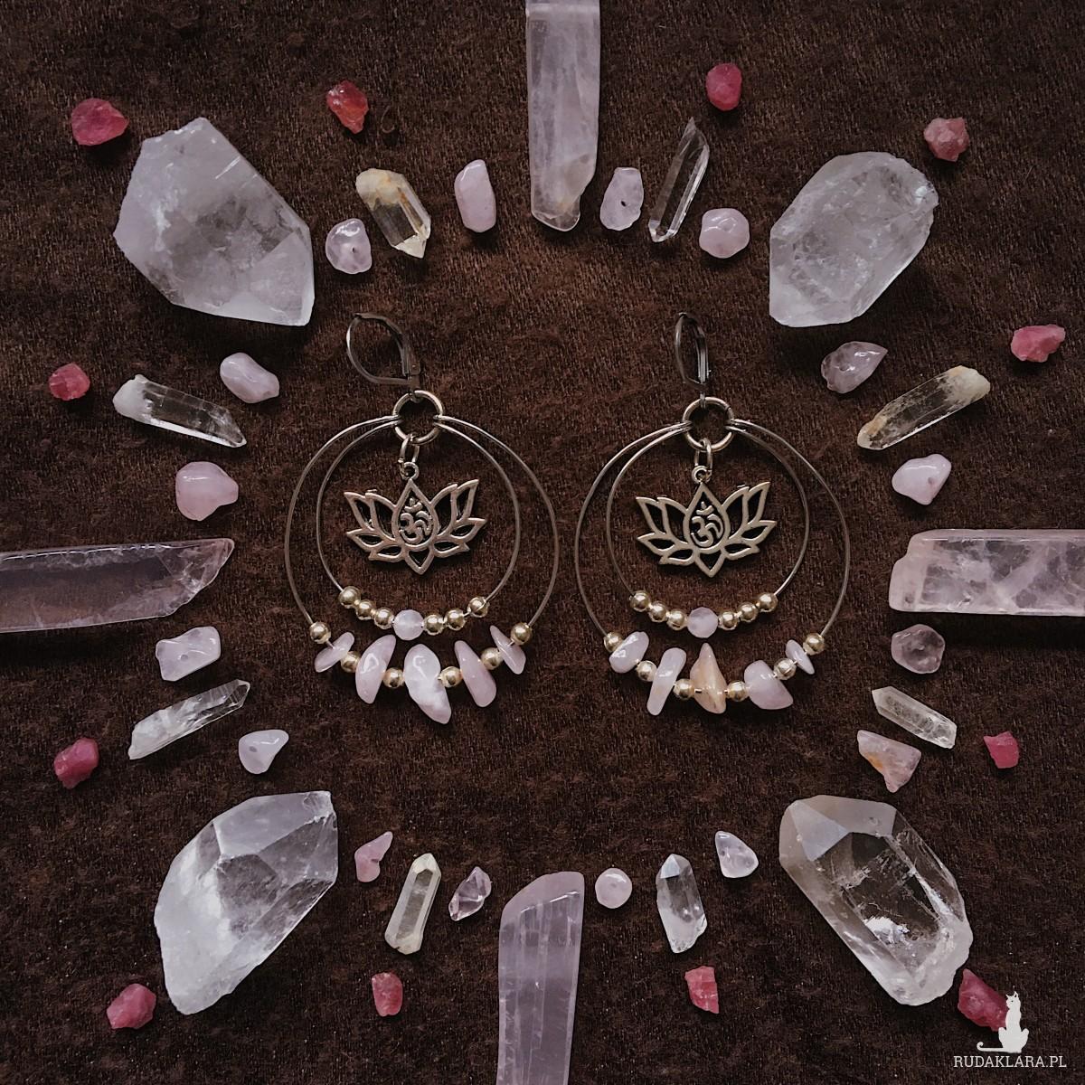 Kolczyki z różowym kwarcem lotos OM