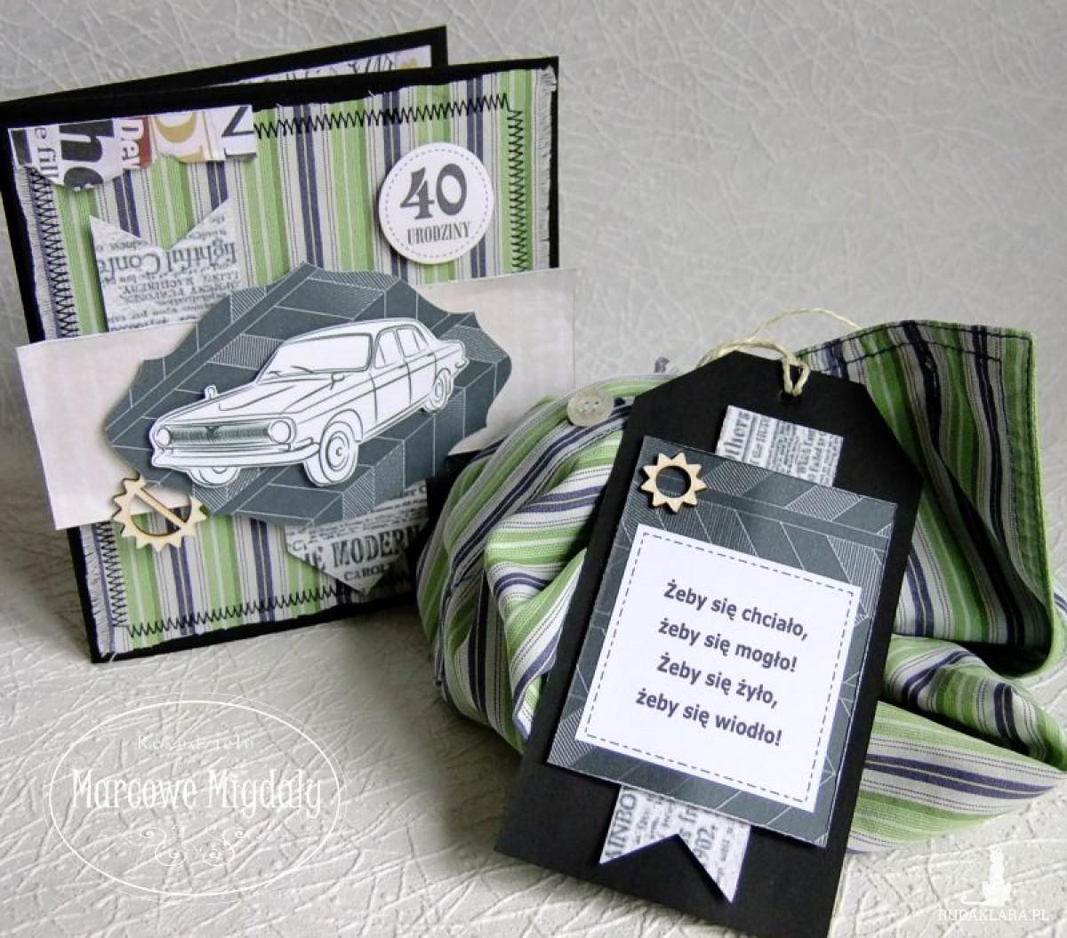 Komplet urodzinowy męski, kartka i torebka na alkohol