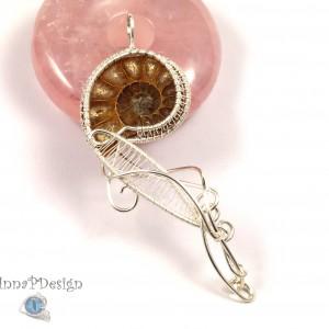 Amonit, Srebrny wisior ze skamieliną amonitu, ręcznie wykonany, prezent dla niej, prezent dla mamy, prezent urodzinowy, biżuteria autorska