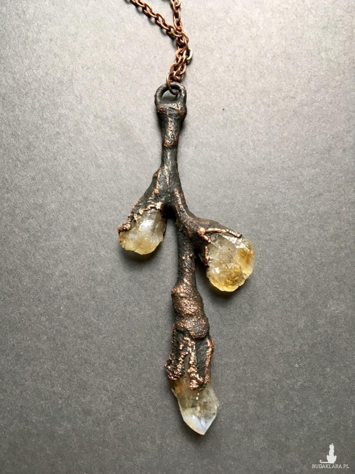 gałązka miedziana z cytrynem naszyjnik