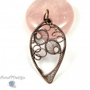 Miedziany wisior Boho, ręcznie wykonany, prezent dla niej prezent dla niego, prezent urodzinowy, biżuteria autorska, wire wrapped