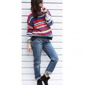 Sweter handmade w paski