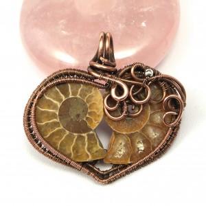 Amonit, Skamielina Amonitu, Wisior miedziany, ręcznie wykonany, prezent dla niej, prezent dla mamy, prezent urodzinowy, biżuteria autorska