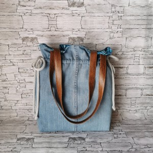 Torebka worek dwustronna wodoodporna - jeans na ramię