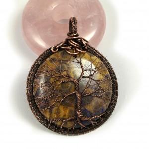 Drzewko szczęścia, Miedziany wisior ze skamieliną koralu ręcznie wykonany, prezent dla niej, prezent dla mamy, prezent urodzinowy, biżuteria