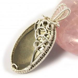 Piryt, srebrny wisior z kaboszonem pirytu, prezent dla niej, prezent dla dziewczyny, prezent dla mamy, biżuteria ręcznie robiona