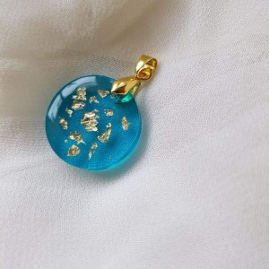 Wisiorek z żywicy epoksydowej naszyjnik zawieszka złoto i turkus prezent robione ręcznie, żywica