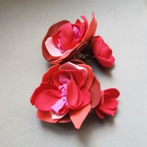 klipsy  kwiaty orient