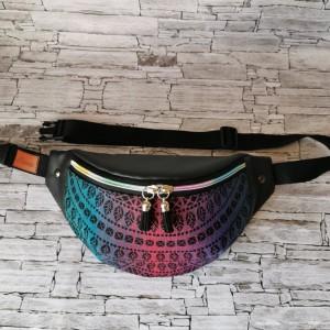 Nerka saszetka biodrowa wodoodporna handmade torebka na pas torebka na ramię mini torebka ekoskóra chusta Pawi Ogon - Czarny Opal 2 rozmiar L