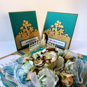 076,Exploding box,pudełko na ślub w turkusie i złocie