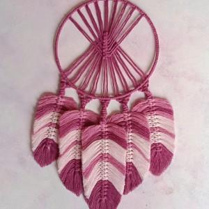 Łapacz snów ze sznurka na ścianę, pióra, liście