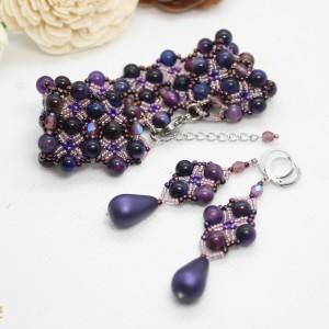 Komplet biżuterii z agatu tygrysie oko - fioletowy