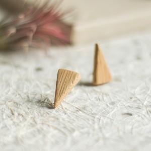 Drewniane kolczyki na sztyft - dąb