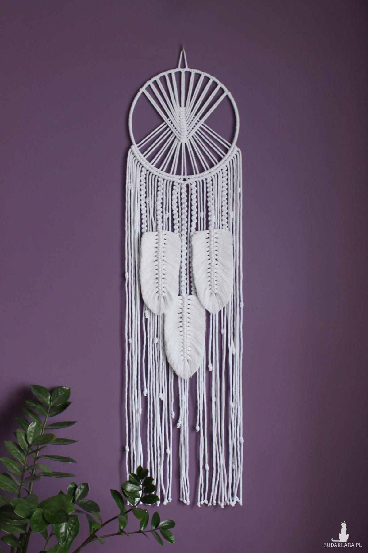 Łapacz snów ze sznurka na ścianę, pióra, liście boho 100cm