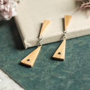 Drewniane kolczyki z obsydianami złocistymi