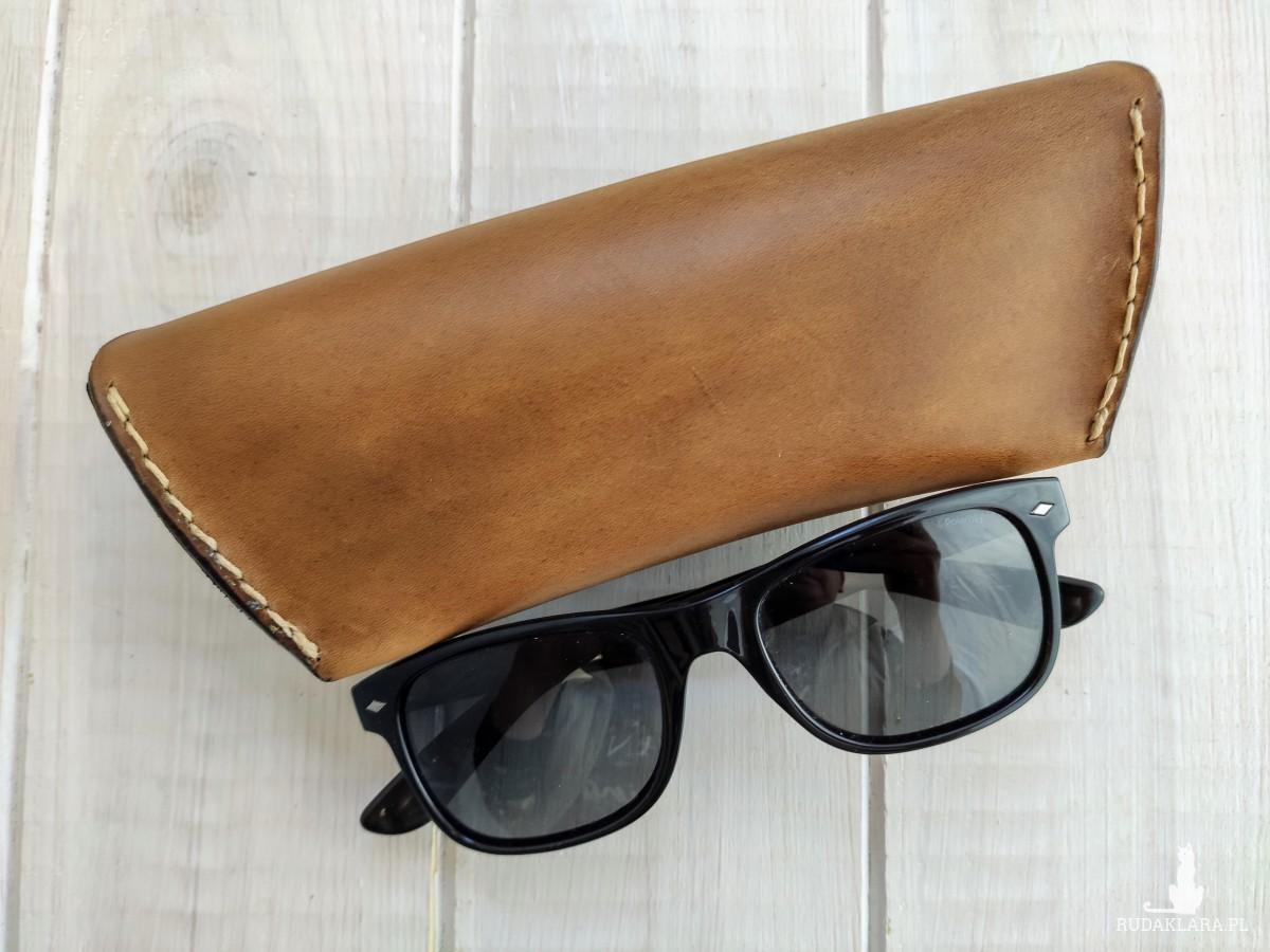 Etui na okulary z naturalnej skóry -brązowe