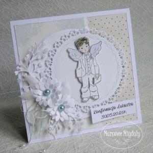 Kartka komunijna, konfirmacyjna z chłopczykiem, personalizowana
