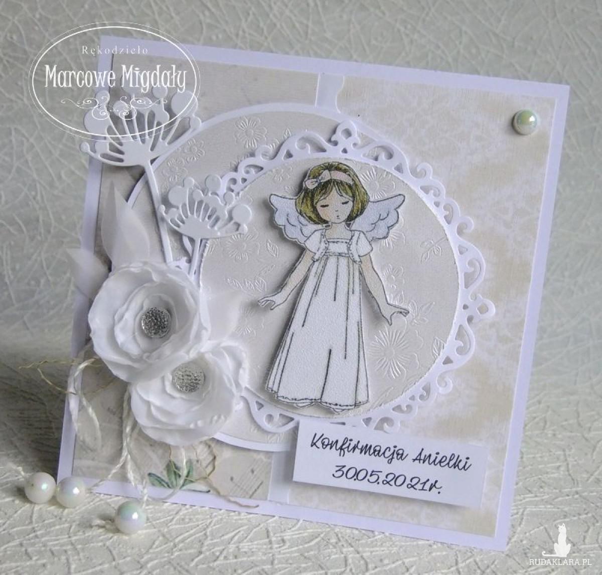 Kartka z okazji Pierwszej Komunii lub Konfirmacji z dziewczynką, personalizowana