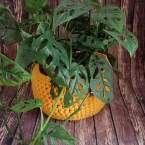 Koszyk 20x16cm,sznurek bawełniany,żółty.