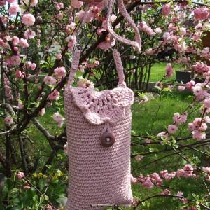 Szydełkowe etui, mini torebka na szyję, pudrowy róż