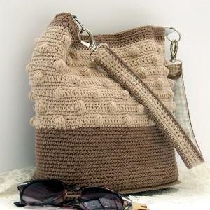 Szydełkowa torebka na ramię i do ręki, beżowa