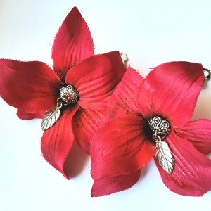 Klipsy etno boho kwiaty