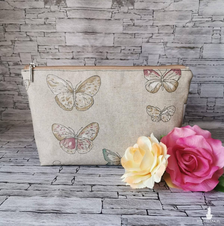 Kosmetyczka saszetka duża  organizer do torebki wodoodporna  motyle