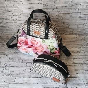 Torebka damska Erica w kwiaty  z kosmetyczką handmade kuferek