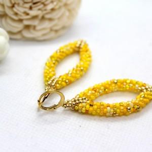 Żółte kolczyki 3D z koralików