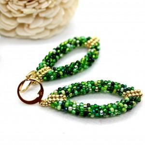 Zielone kolczyki 3D z koralików