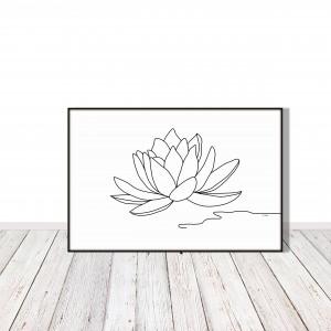 Kwiat lotosu - grafika autorska, minimalistyczna, rysunek jedna linia