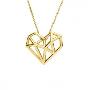 ORIGAMI HEART - srebro złocone