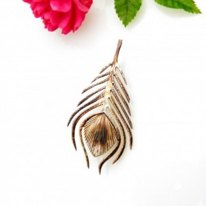 Pawie pióro - broszka srebrna