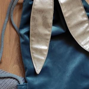 Dziecięcy plecak worek królik niebieski i srebro