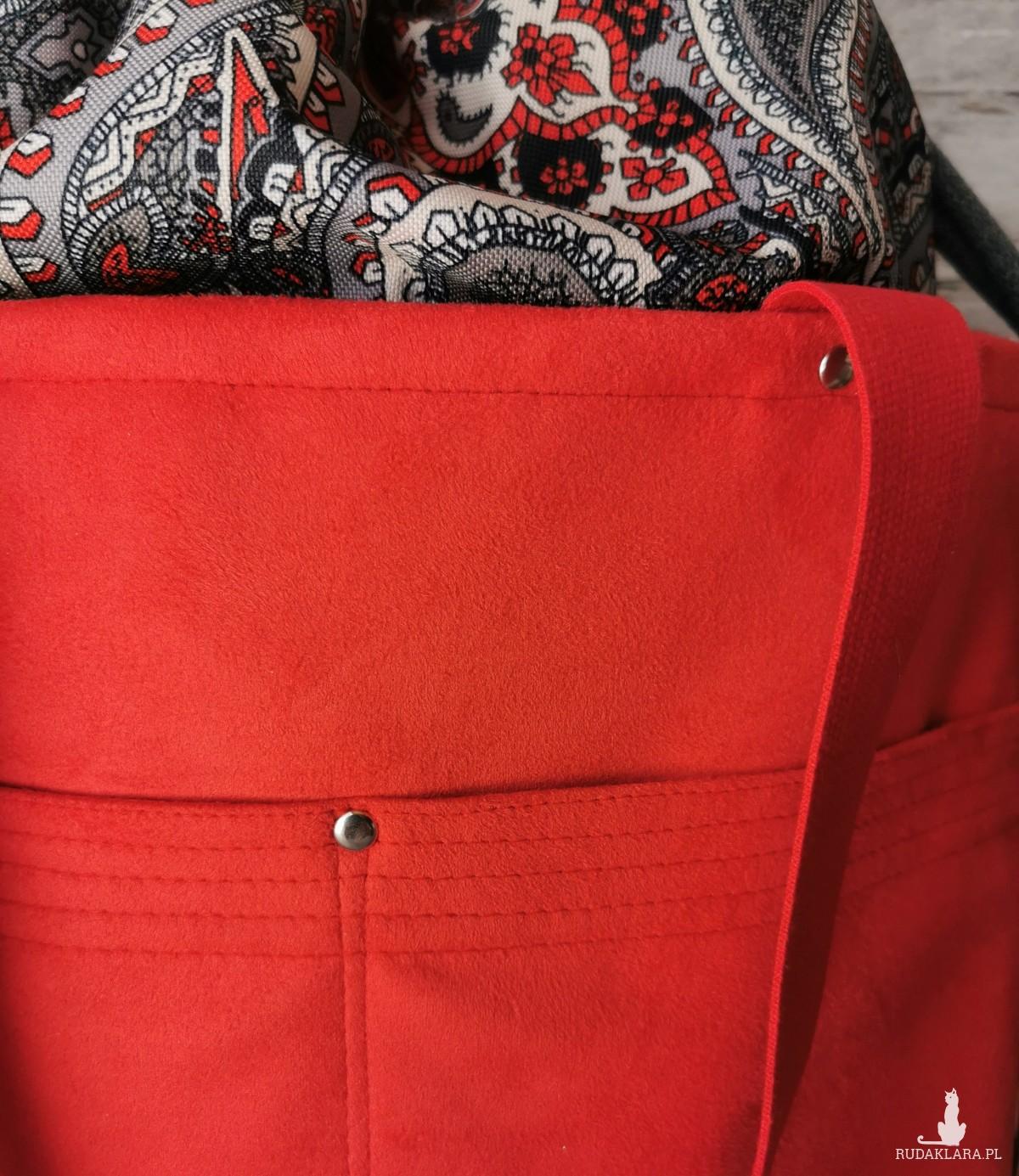 Zestaw torebka z kominem + kosmetyczka nubuk wodoodporna handmade  czerwona