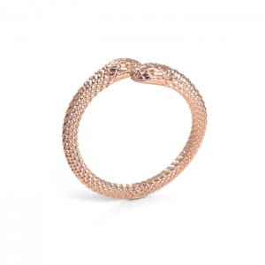 pierścionek WĄŻ- różowe złoto