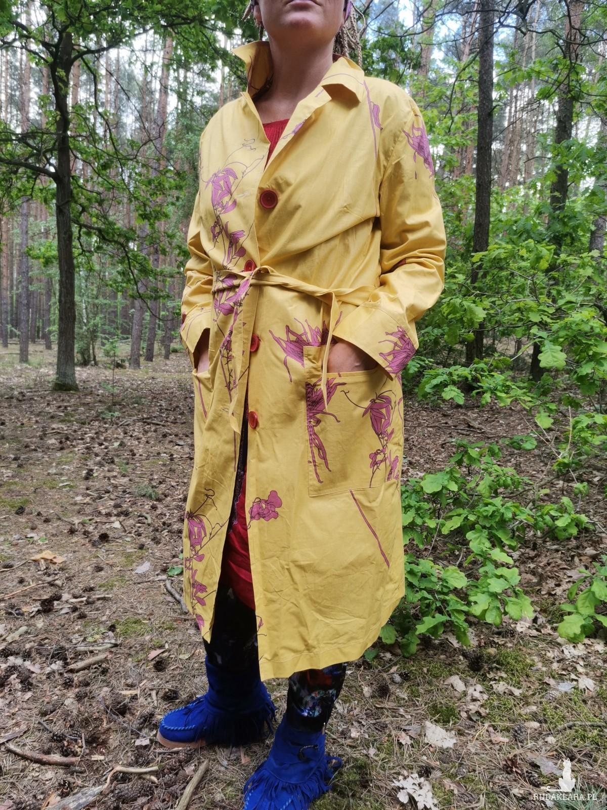 płaszcz damski żółty wiosenno letni