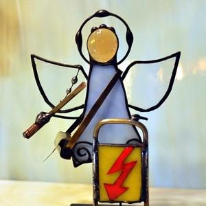 Aniołek witrażowy 3D elektryk