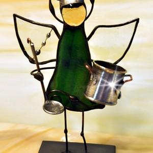 Aniołek witrażowy 3D kucharz/kucharka