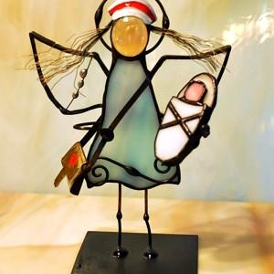 Aniołek witrażowy 3D  pielęgniarka położna z dzieckiem