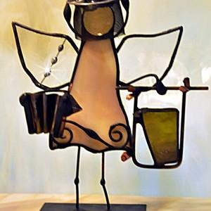 Aniołek witrażowy 3D  pszczelarz