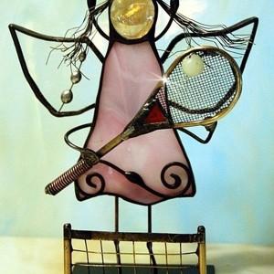 Aniołek witrażowy 3D  tenisistka