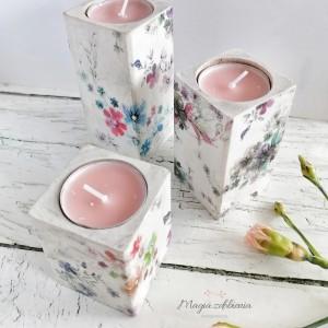 Komplet świeczników - kwiaty / 3szt.