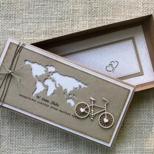 041 KARTKA NA ŚLUB W SZCZĘŚLIWĄ PODRÓŻ w stylu eco /rustykalnym