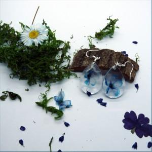 Kwiaty  w Żywicy -  kolczyki żywica i niebieskie fiołki