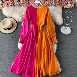 sukienka rozmiar s/ m rózowo pomarańczowa